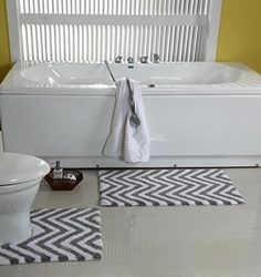 WARISI - 2 Piece Chevron Pedestal Collection - Designer Plush, Cotton Bath Rug and Contour, 34 x 21 and 21 x White) Bathroom Rugs, Bath Rugs, Chevron, Pedestal, Plush, Luxury, Contour, Design, Inspiration