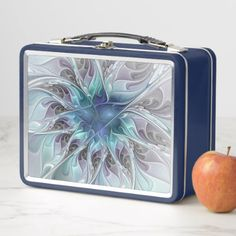 Flourish Abstract Modern Fractal Flower With Blue Metal Lunch Box - diy cyo customize special unique