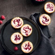 Mini Jam Cheesecakes—Perfect for a holiday dessert tray, these diminutive delectables offer all the pleasure of rich, decadent cheesecake in three small mouthfuls. Holiday Desserts, No Bake Desserts, Holiday Recipes, Dessert Recipes, Holiday Appetizers, Cheesecake Cups, Cheesecake Recipes, Cupcake Tray, Dessert Tray