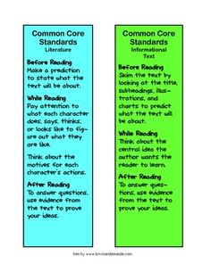 The new Common Core Standards requires students to closely read text and defend their ideas.  Use these bookmarks to help students remember what de...