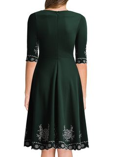 Miusol Women's Vintage Scoop Neck Embroidered Half Sleeve Casual Swing Dress
