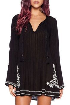 Bell Sleeve Embroidered Tunic Dress BLACK: Long Sleeve Dresses | ZAFUL