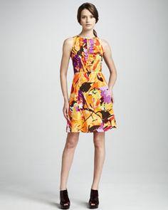T52HU Nanette Lepore Fall Bouquet Silk Dress