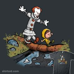 """""""Can I Have My Boat? II"""" by Paula García Stephen King's It in the style of Calvin and Hobbes Horror Icons, Horror Art, Horror Movies, Steven King, Pennywise The Dancing Clown, Little Doodles, Movie Memes, Calvin And Hobbes, Totoro"""