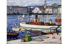 Bateau blanc dans le port de Marseille by Louis Mathieu Verdilhan