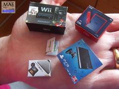 Set video game consoles boxes miniature. Wii & mini, 3DS XL, PS3+game.Scale 1/12 in Other   eBay
