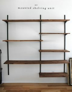 DIY mounted shelving unit.