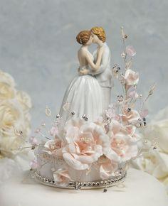 "Bliss Wedding Supplies - ""Crystal Romance"" Lesbian Wedding Cake Topper, $79.98 (http://www.blissweddingsupplies.com/crystal-romance-lesbian-wedding-cake-topper/)"