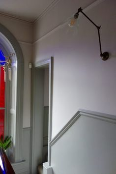 Farrow & Ball Peignoir and Worsted altbau Hallway Wall Colors, Hallway Paint, Grey Hallway, Hallway Colour Schemes, Dado Rail Hallway, Hallway Flooring, Dado Rail Living Room, Dado Rail Bedroom, Narrow Hallway Decorating