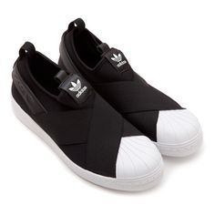 Superstar Slip On Adidas via Polyvore featuring shoes, adidas footwear, strap shoes, print shoes, slipon shoes and leather slip on shoes