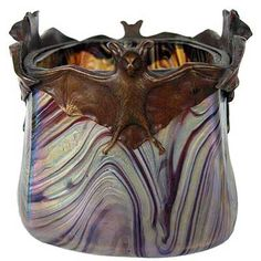 Art Nouveau Rindskopf iridescent vase with bronze mount of bats in flight. Bohemia circa 1900.