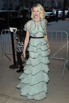 21 March Naomi Watts looked pretty in a frilly, long gown for the premiere of Demolition in New York City. - HarpersBAZAAR.co.uk