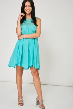 Mint Green Dress With Crochet Detail Ex-Branded