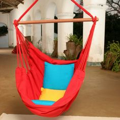 Brazilian Cotton Solid Colors Hammock Chair - Brighten Up Your DaySome time spent in the Brazilian Cotton Fabric Hammock Chair is sure to lift your spirits, no matter what color you choose. This 1...