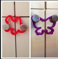 Cookie Cutters what a simple solution to lock cupboards, fridge doors.