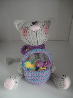 Crochet gray cat + basket + fish - pattern **** this is a crochet pattern pdf document NOT finished toy****    Pattern: cat, basket, fish    *