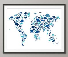 Dinosaur Map of the World Map, Art Print - 12x16 up to 24x36 inch (583) --Josh would flip.