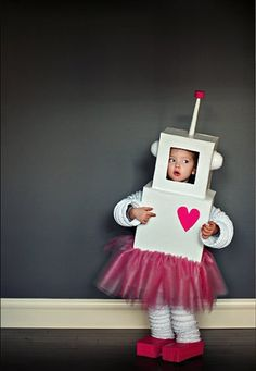 Customize this DIY Girl Robot costume with any color your kiddo wants.