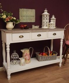 Shabby Chic White Country French Style Console Sideboard Hall Side Table Drawer