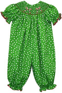 727a4c6dac9c Green Dot Candy Cane Smocked Playsuit - Infant