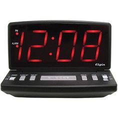 "Elgin Electric 2.5"" Red LED Alarm Clock with Snooze Dimmer Switch Wall Mountable"