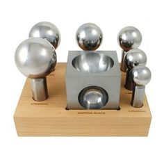 LARGE DAPPING PUNCHES SET & FORMING BLOCK DOMING STEEL FOR JEWELRY SILVERSMITH