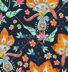 Seamless texture with cute flowers watercolor vector on VectorStock
