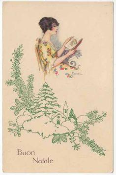 vintage beautiful postcards by adolfo busi | Busi Artwork Christmas Postcard of Beautiful Woman Reading A Book ...