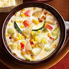 Three Sisters Corn-and-Chili Chowder How To Cook Plantains, Food Cost, Seafood Stew, Get Thin, Just Cooking, Cooking Corn, Cooking Ideas, Vegetarian Soup, Three Sisters