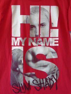Eminem Hi My Name Is Slim Shady T Shirt Red Mens Size M Medium #Eminem #SlimShady #Rap