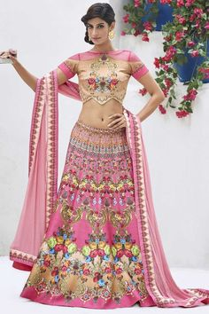 New Lehenga Choli Style.Silk Fabric Salmon Color Incredible Unstitched Lehenga Choli This attire is nicely made with Crystals Stones & Printed work. Lehenga Anarkali, Lehenga Indien, New Lehenga Choli, Pakistani Lehenga, Pink Lehenga, Lehenga Choli Online, Sari, Pakistani Dresses, Indian Dresses