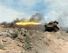 Here the Marine M4A3R3 Sherman tank - nicknamed the 'Zippo' by troops goes into…