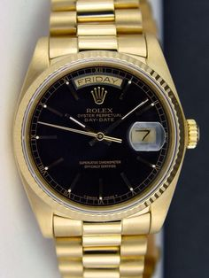 Rolex Day Date President Yellow Gold Black Dial 18038 | WATCH CHEST