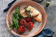 Lemon fish with olive salsa