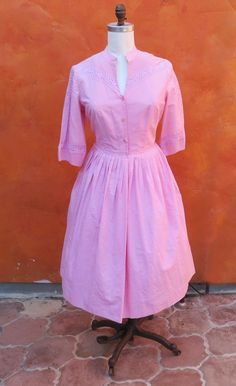 Vintage 1950s 1960s Pink Swing Dress. Day Cotton. Lace trim. Kerrybrooke. Box Pleated Skirt. Large by SweetPickinsShop