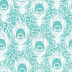Soft peacock feathers vector seamless pattern background — Stock Vector #29130485