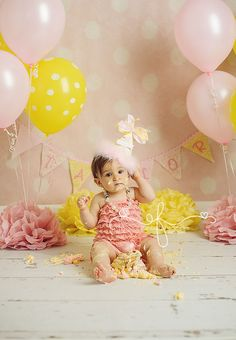 Yellow and Pink First Birthday Party   Pink Lemonade Smash Cake   CT First Birthday Photographer CT Smash Cake Photographer Elizabeth Frederick Photography