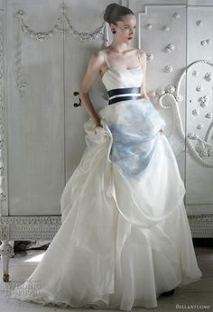 Bellantuono wedding gowns from the 2010 bridal collection - strapless gown with blue painted silk skirt and obi inspired sash