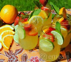 Fruity white sangria - This is so delicious. Going to use a little less lemon next time.