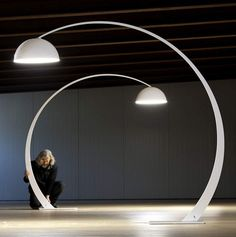 Very Large Italian Made Modern Arc Floor Lamp