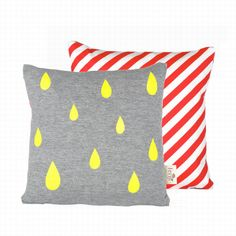 Ferm Living Raindrops Neon Hand Printed Pillow