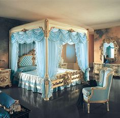Link Camp: Royal Bedroom - Luxury Home Decoration and Interior Design Coastal Bedrooms, Luxurious Bedrooms, Luxury Bedrooms, Dream Rooms, Dream Bedroom, Pretty Bedroom, Blue Bedroom, Master Bedroom, Cinderella Room