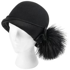 7e7abb39c53 BELART Paris c.1920 s Black Wool Felt Satin Feather Pom Pom Flapper Cloche  Hat