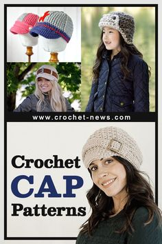 Caps don't get enough credit for how they are often the perfect finishing touch to an outfit. Whether it's getting around town with day 3 hair or going for an early morning run, there's plenty of reasons to wear a cap when you're on the go. To help you get started, here are 15 crochet cap patterns you can make! Crochet Newsboy Hat, Knit Or Crochet, Cute Crochet, Beautiful Crochet, Easy Crochet, Single Crochet, Knitting Patterns Free, Hand Knitting, Crochet Patterns
