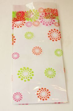 6 Fluorescent Pink Orange Green Flower Print Cellophane party favor Treat Bag, Cello Large Gift Bag  Girl Birthday Supplies Spring Easter
