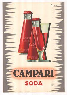 For Sale on - Giovanni Mingozzi (Italian, 'Campari Soda'. Original liquor advertising poster for Campari soda, dated Conservation linen backed and framed