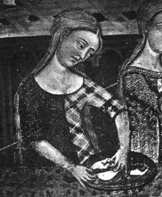 Spanish style cotehardie, parti-colored with bias-cut plaid. (appears in color on the site too) School of Lattagona: Retable of Saint Jean? Altarpiece from the Castle of Santa Coloma de Queralt. Medieval Life, Medieval Fashion, Medieval Clothing, Medieval Art, Medieval Costume, Medieval Dress, 14th Century Clothing, Statues, Mystique
