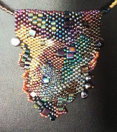 Freeform beaded pendant necklace, #822