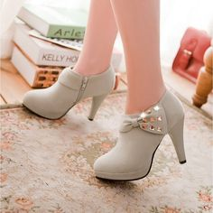 Suede High Heel Ankle Boots Platform Shoes Zipper Fashion Casual Footwear Our product size standard - Please use size chart below. Platform High Heels, High Heel Boots, Heeled Boots, Shoe Boots, Shoes Heels, Footwear Shoes, Women's Boots, Heeled Sandals, Girls Footwear