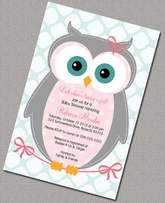 Owl Baby Shower Invitation, Baby Girl, Pink, Gray, Seafoam Quatrefoil, Digital, Printable File (783)
